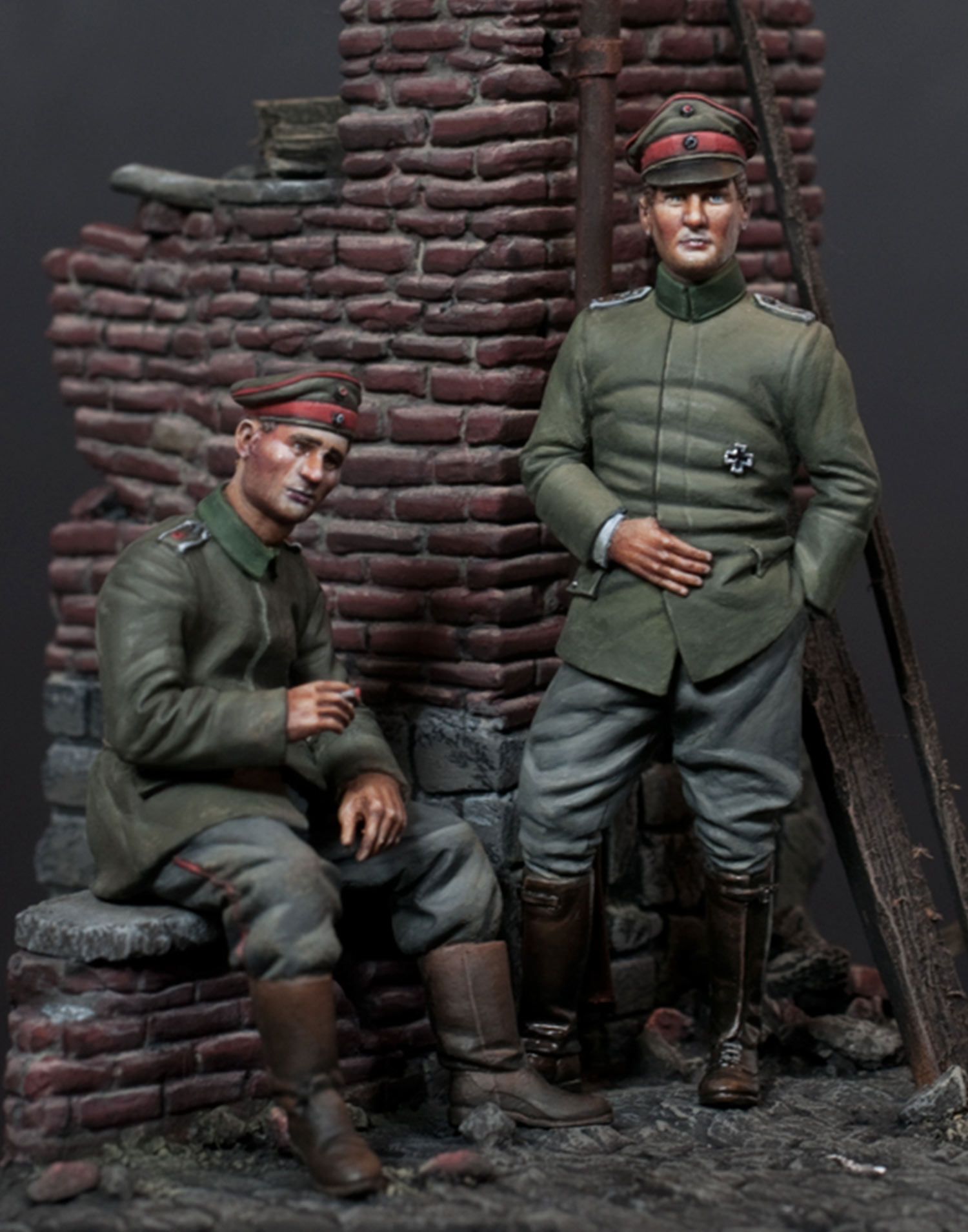 WWI German Infantry Officer with seated Infantryman